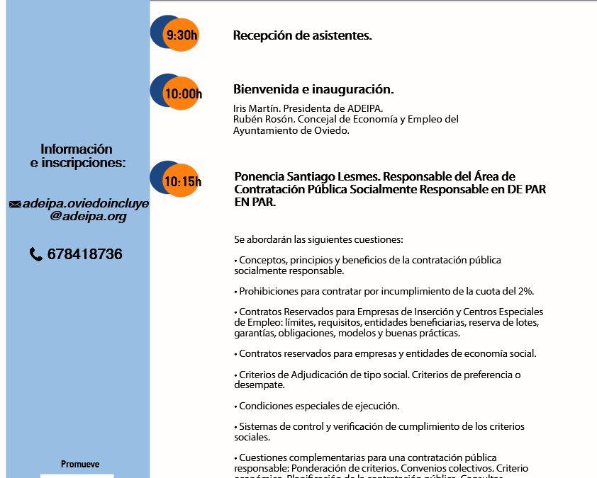 """Jornada: """"Contratos reservados y cláusulas sociales para una contratación pública responsable""""."""
