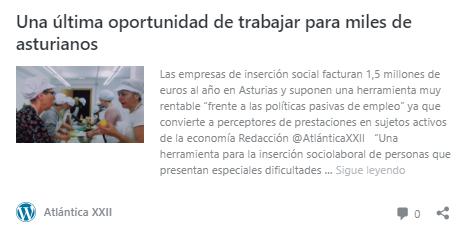Artículo sobre las empresas de inserción asturianas en la revista Atlántica XXII