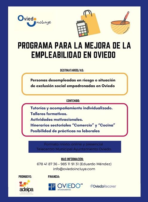Programa para el fomento de la empleabilidad de personas empadronadas en Oviedo que se encuentren en situación de vulnerabilidad