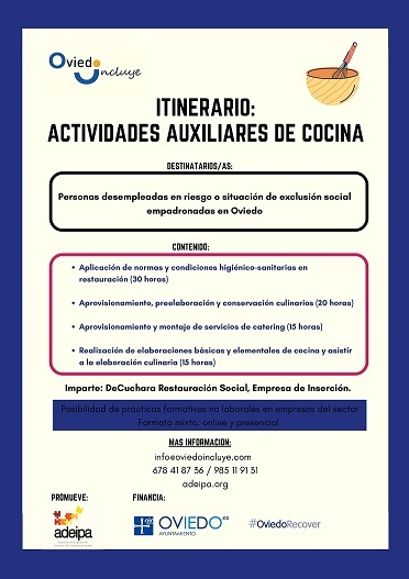 """Formación Oviedo Incluye: """"Actividades auxiliares de cocina"""""""